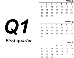 Download Template 1: Quarterly planner in PDF format, landscape, 4 pages, bold, months stacked
