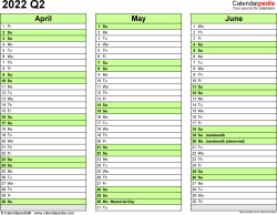 Download Template 4: Quarterly calendar 2022 for Microsoft Excel (.xlsx file), landscape, 4 pages, every quarter in a different color