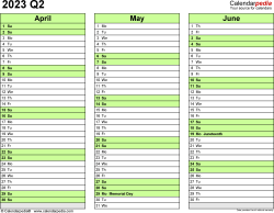 Download Template 4: Quarterly calendar 2023 for Microsoft Word (.docx file), landscape, 4 pages, every quarter in a different color