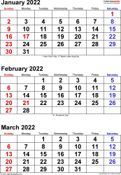 Quarterly calendar templates for 2022 in Microsoft Word format