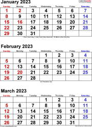 Download Template 6: Quarterly calendar 2023 for Microsoft Word (.docx file), portrait, 4 pages, large numerals