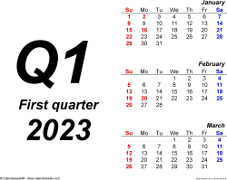 Download Template 1: Quarterly calendar 2023 for Microsoft Word (.docx file), landscape, 4 pages, bold, months stacked