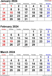 Download Template 6: Quarterly calendar 2024 in PDF format, portrait, 4 pages, large numerals