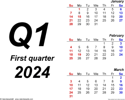 Download Template 1: Quarterly calendar 2024 in PDF format, landscape, 4 pages, bold, months stacked
