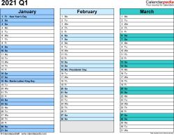 Download Template 3: Quarterly calendar 2021 for Microsoft Excel (.xlsx file), landscape, 4 pages, rainbow calendar