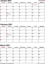Download Template 7: Quarterly calendar 2021 for Microsoft Excel (.xlsx file), portrait, 4 pages, small numerals