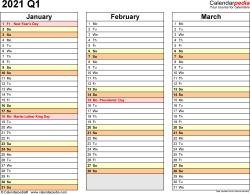 Download Template 5: Quarterly calendar 2021 for Microsoft Excel (.xlsx file), landscape, 4 pages, standard color scheme