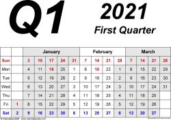 Download Template 2: Quarterly calendar 2021 for Microsoft Excel (.xlsx file), landscape, 4 pages, 3 months abreast