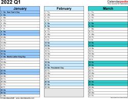 Download Template 3: Quarterly calendar 2022 for Microsoft Excel (.xlsx file), landscape, 4 pages, rainbow calendar