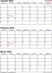 Download Template 7: Quarterly calendar 2022 for Microsoft Excel (.xlsx file), portrait, 4 pages, small numerals