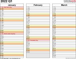 Download Template 5: Quarterly calendar 2022 for Microsoft Excel (.xlsx file), landscape, 4 pages, standard color scheme