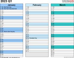 Download Template 3: Quarterly calendar 2023 for Microsoft Word (.docx file), landscape, 4 pages, rainbow calendar