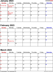 Download Template 7: Quarterly calendar 2023 for Microsoft Word (.docx file), portrait, 4 pages, small numerals