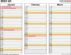 Download Template 5: Quarterly calendar 2023 for Microsoft Word (.docx file), landscape, 4 pages, standard color scheme