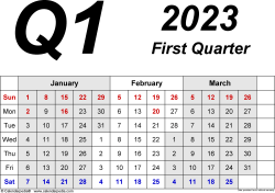 Download Template 2: Quarterly calendar 2023 for Microsoft Word (.docx file), landscape, 4 pages, 3 months abreast