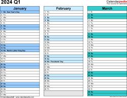 Download Template 3: Quarterly calendar 2024 in PDF format, landscape, 4 pages, rainbow calendar