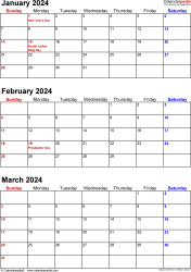 Download Template 7: Quarterly calendar 2024 in PDF format, portrait, 4 pages, small numerals