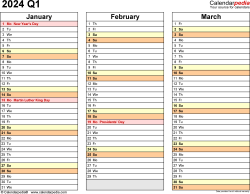 Download Template 5: Quarterly calendar 2024 in PDF format, landscape, 4 pages, standard color scheme