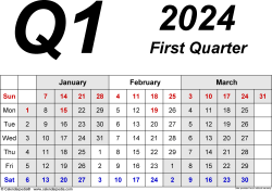 Download Template 2: Quarterly calendar 2024 in PDF format, landscape, 4 pages, 3 months abreast