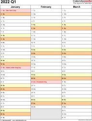 Download Template 10: Quarterly calendar 2022 for Microsoft Excel (.xlsx file), portrait, 4 page