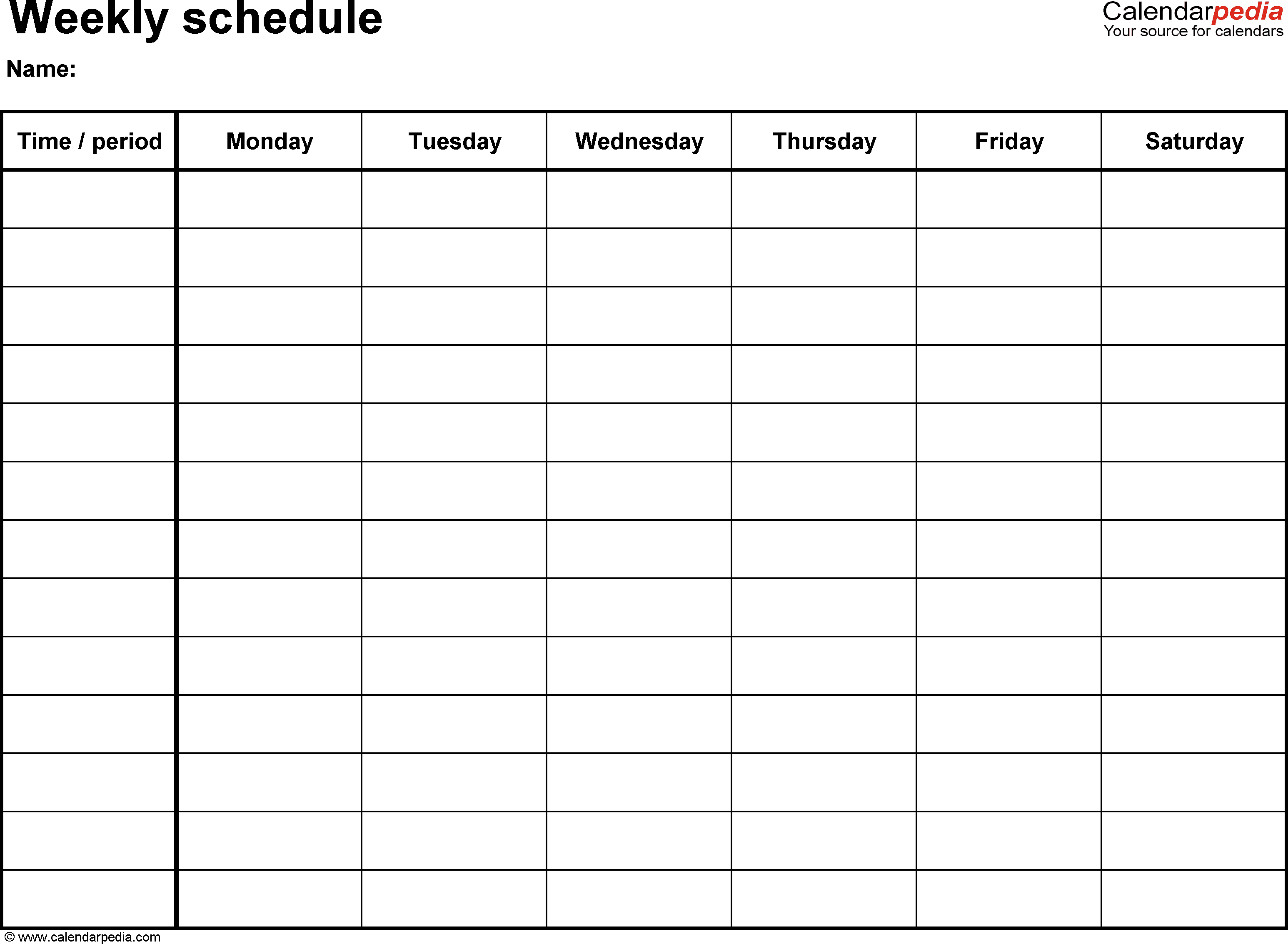 Weekly schedule template for Word version 8: landscape, 1 page, Monday ...
