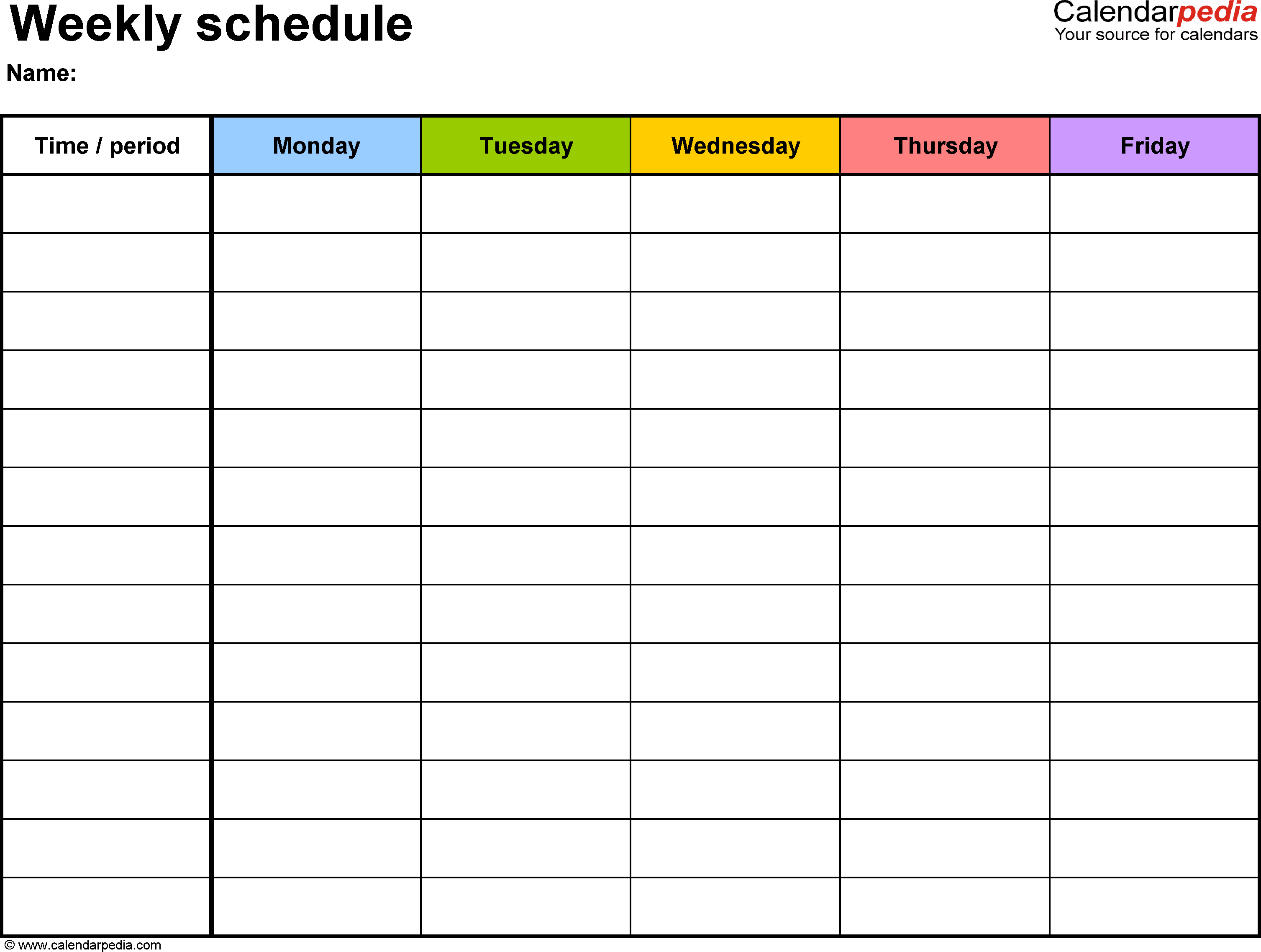 Weekly Schedule Planner Template Excel