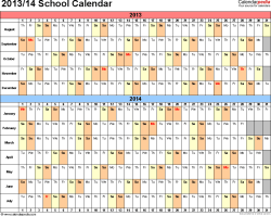 Template 2: School calendar 2013/14 for PDF, landscape orientation, days horizontally (linear), 1 page