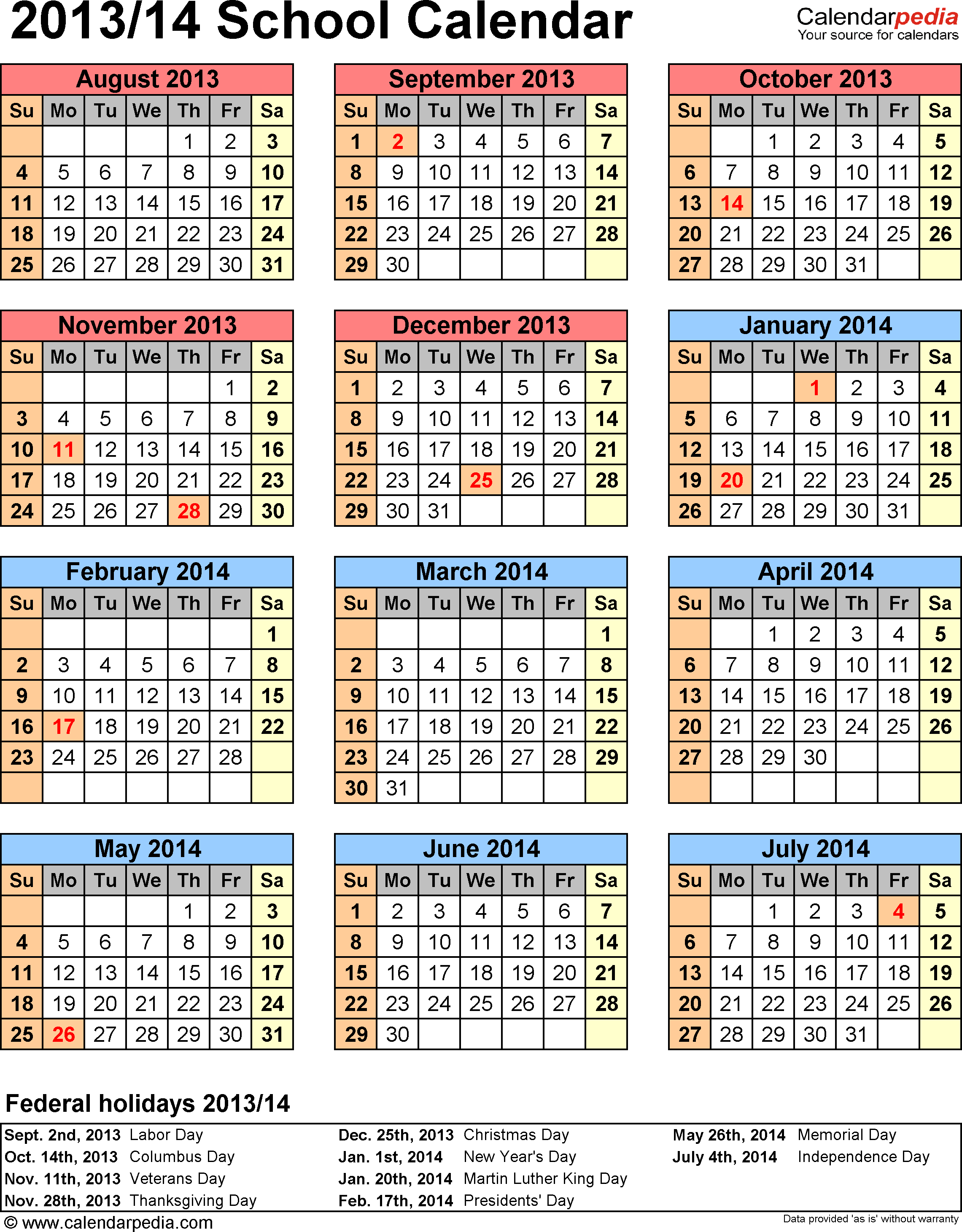 Template 6: School calendar 2013/14 for Word, portrait orientation, year at a glance, 1 page