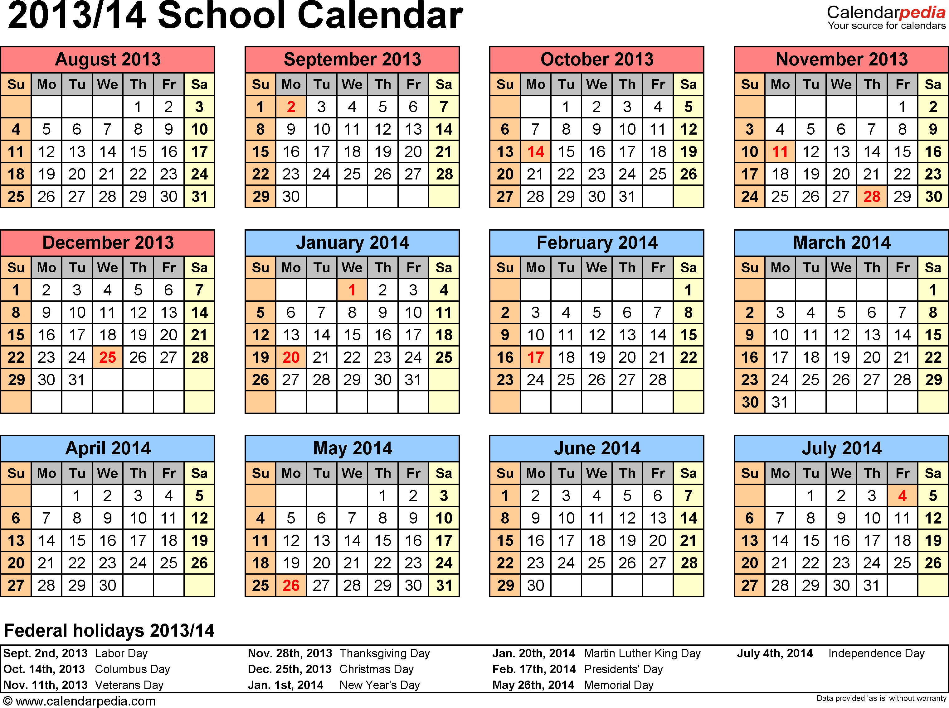 Template 4: School calendar 2013/14 for PDF, landscape orientation, year at a glance, 1 page
