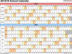 Template 2: School calendar 2014/15 for PDF, landscape orientation, days horizontally (linear), 1 page