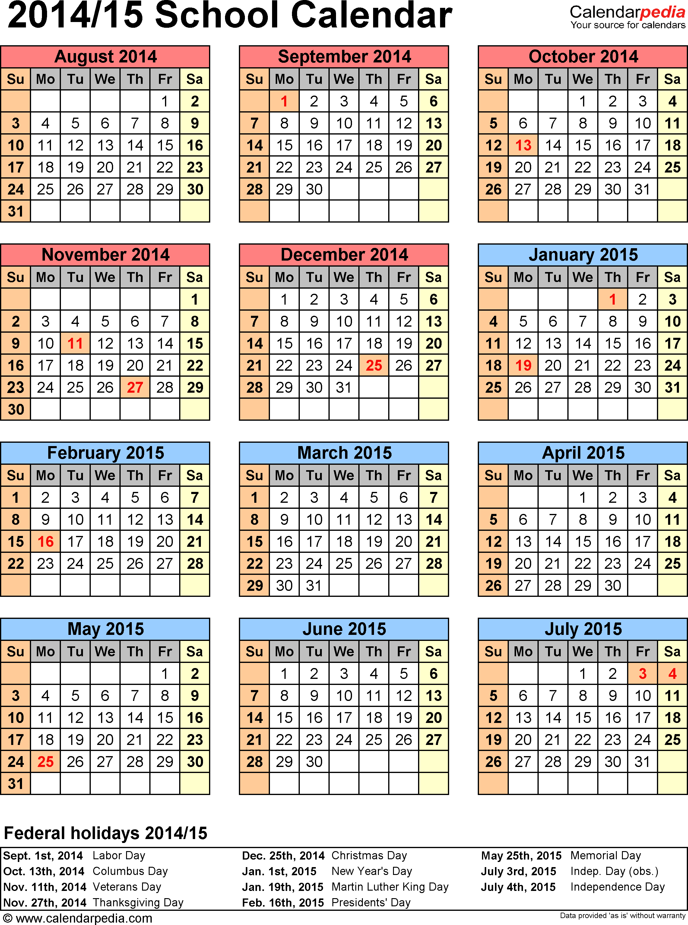 Template 6: School calendar 2014/15, for Microsoft Excel (.xlsx file), portrait, 1 page, year at a glance