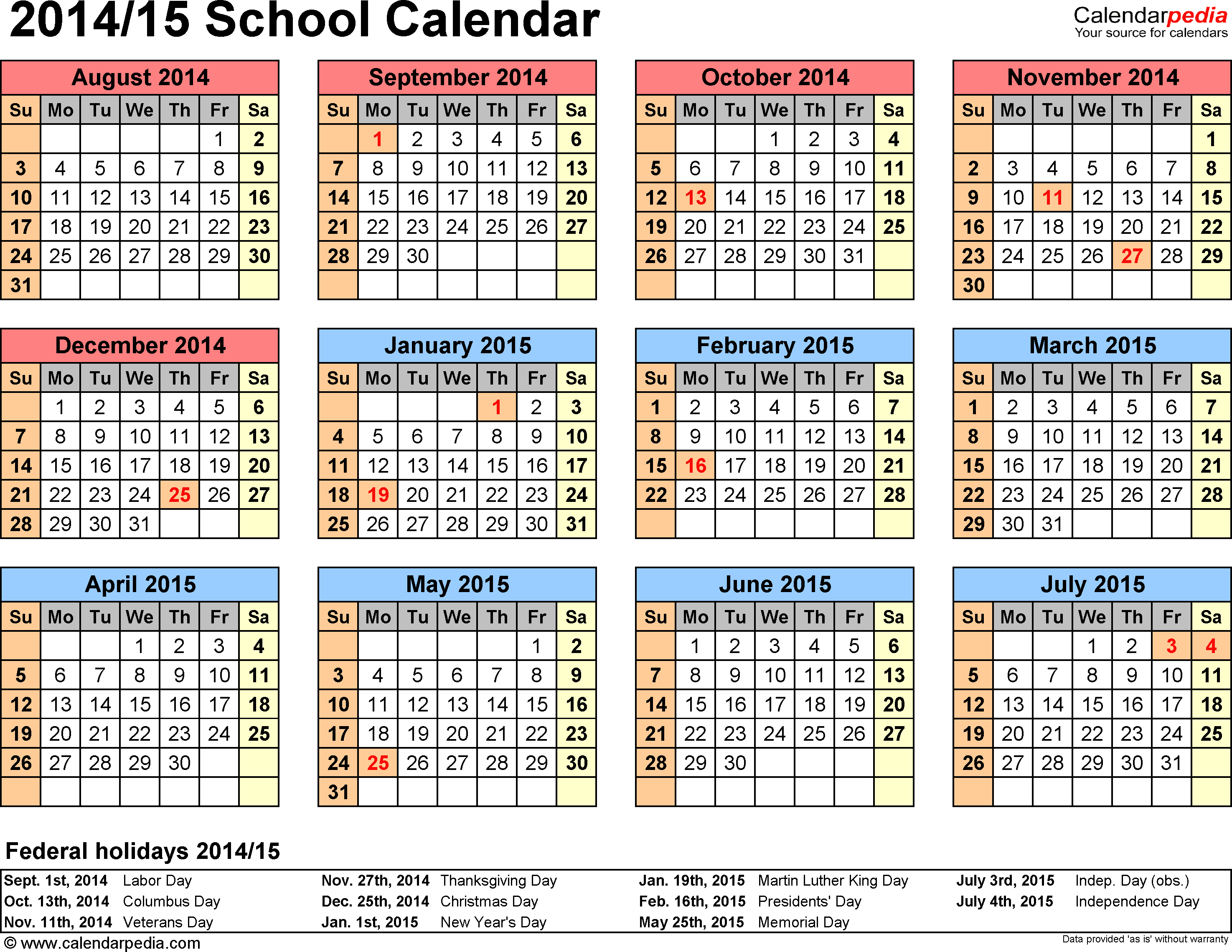 Template 4: School calendar 2014/15, for Microsoft Excel (.xlsx file), landscape, 1 page, year at a glance