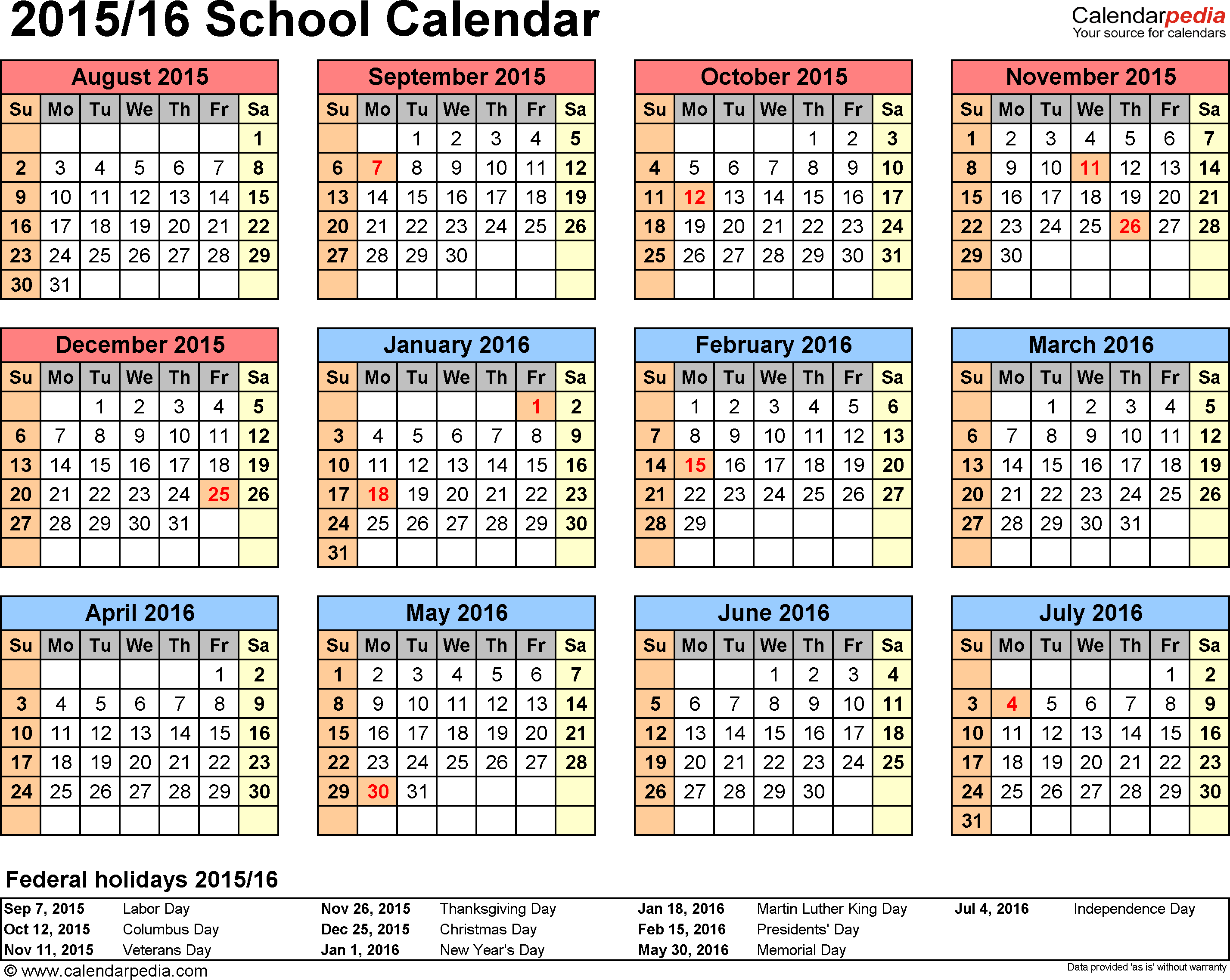 Template 4: School calendar 2015/16 for Excel, landscape orientation, year at a glance, 1 page
