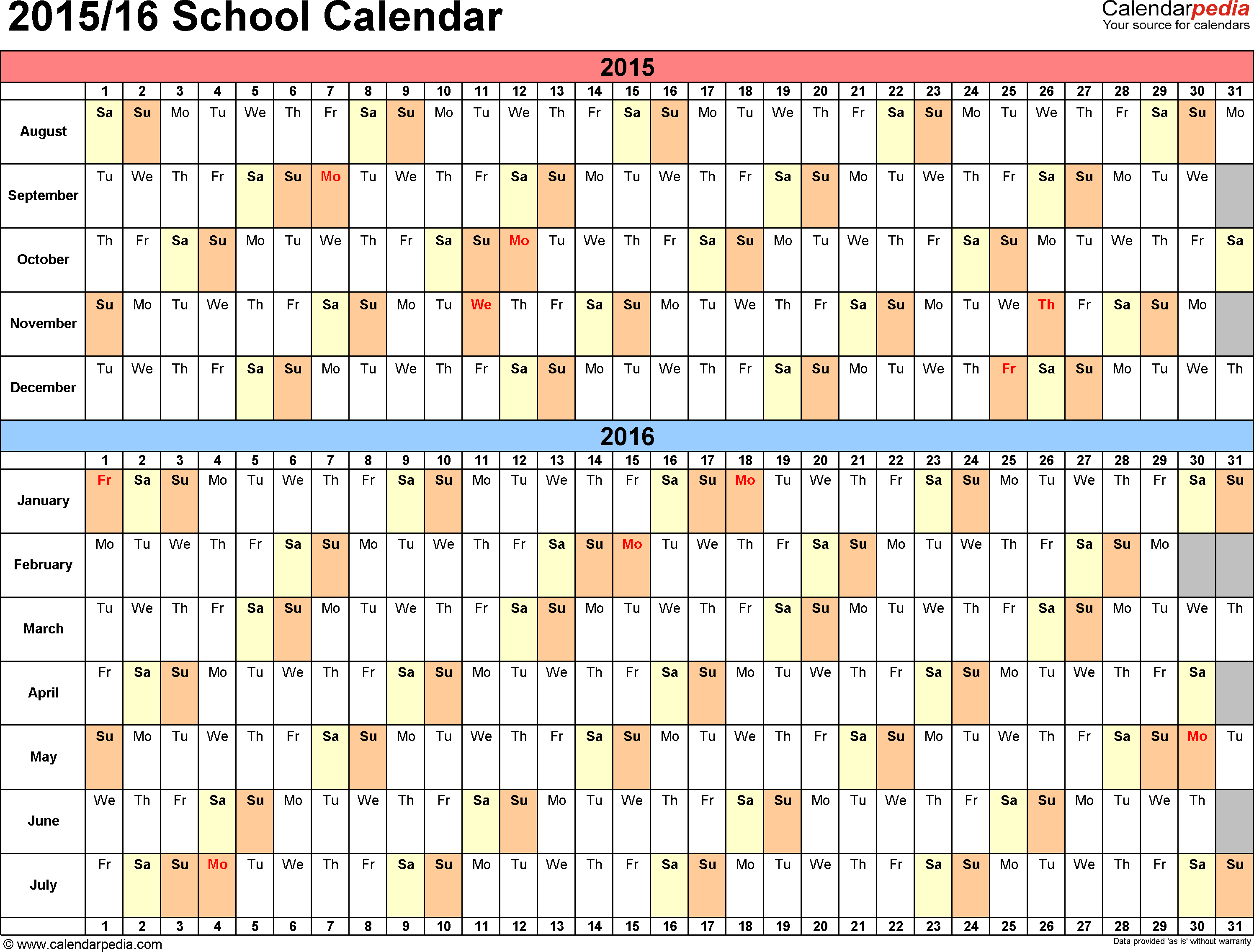 Template 3: School calendar 2015/16 for PDF, landscape orientation, days horizontally (linear), 1 page