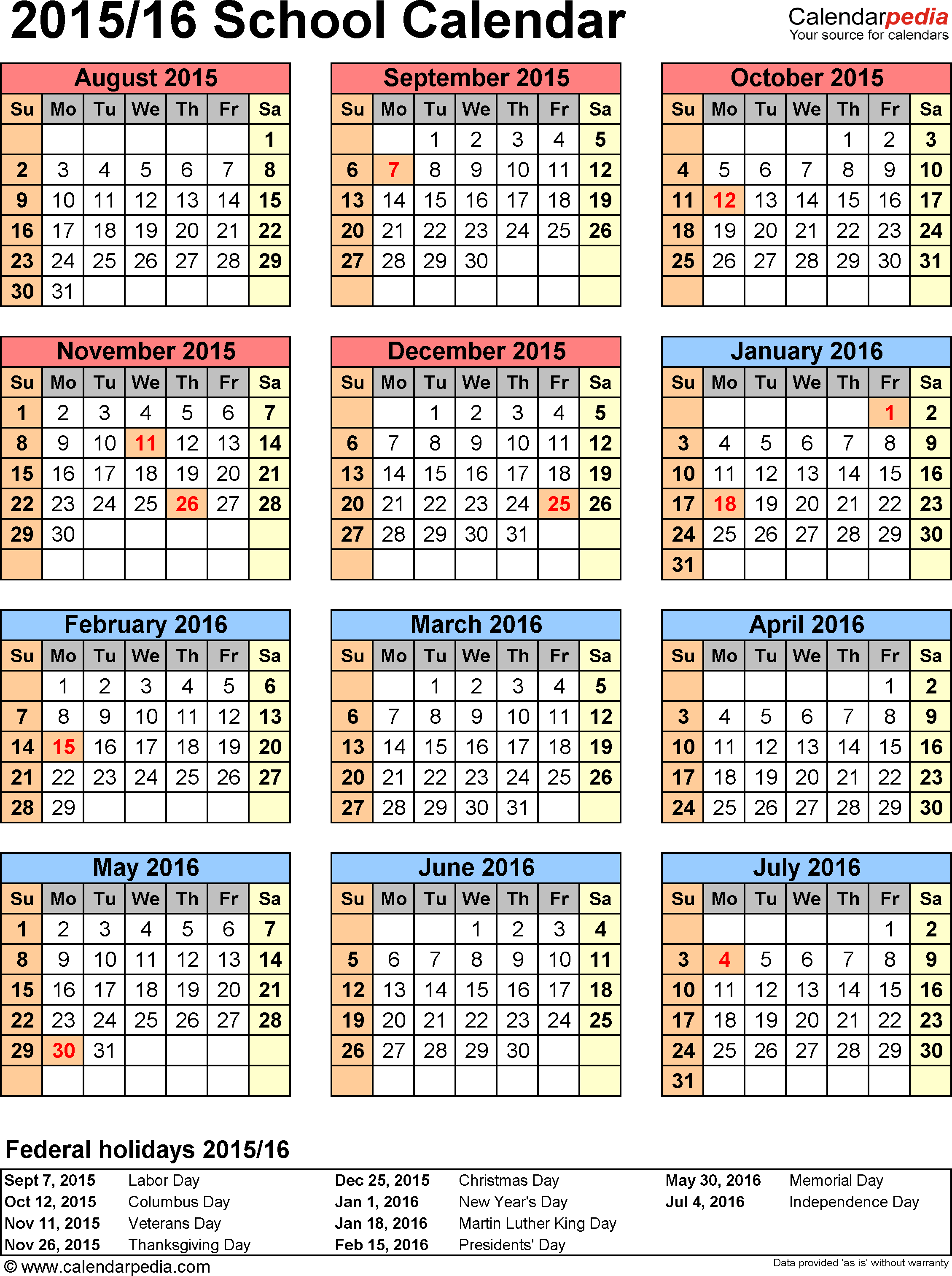 Template 7: School calendar 2015/16 for Excel, portrait orientation, year at a glance, 1 page