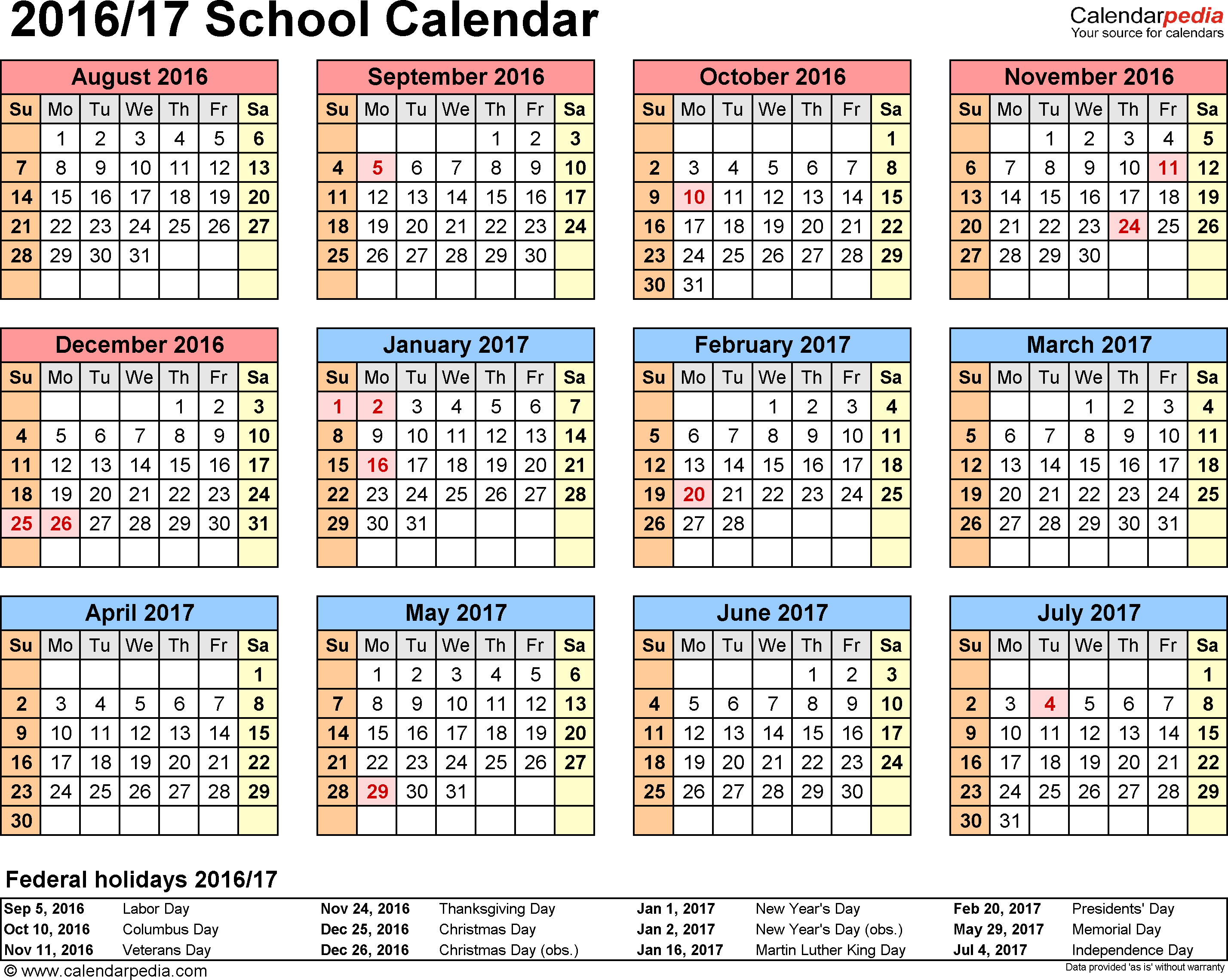 Template 4: School calendar 2016/17 for Excel, landscape orientation, year at a glance, 1 page