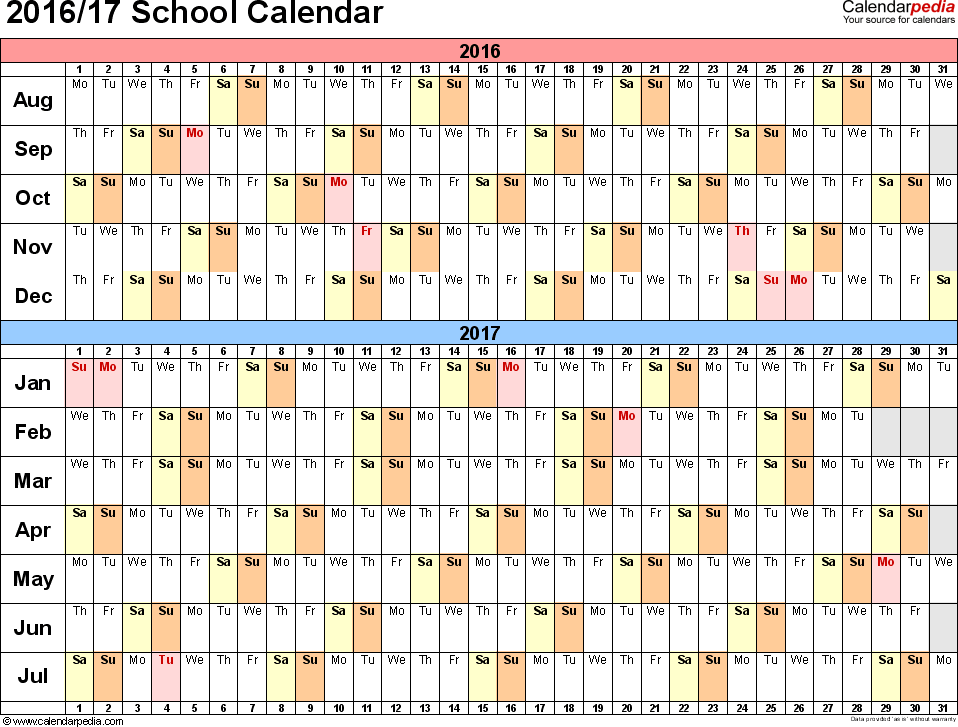 Template 2: School calendar 2016/17 for PDF, landscape orientation, days horizontally (linear), 1 page