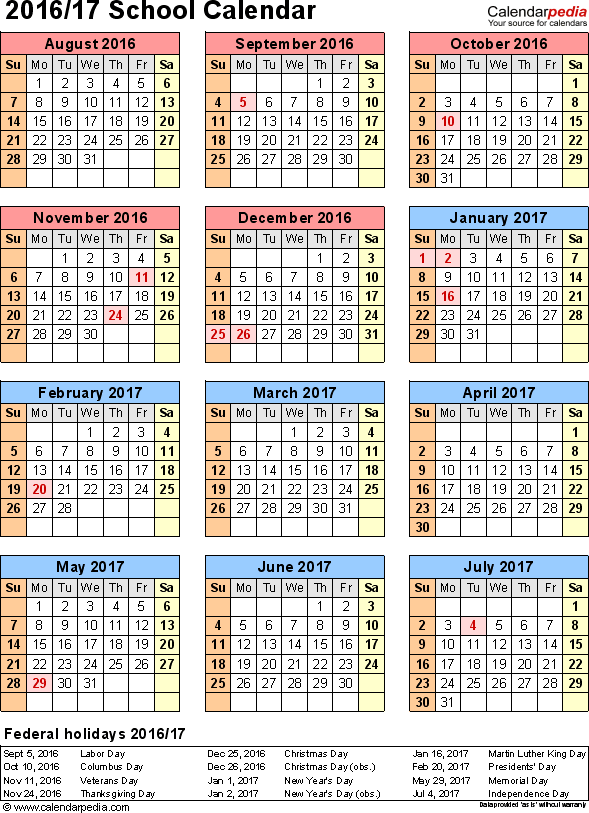Template 7: School calendar 2016/17 for Excel, portrait orientation, year at a glance, 1 page