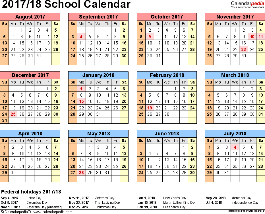 Template 4: School calendar 2017/18 for Excel, landscape orientation, year at a glance, 1 page