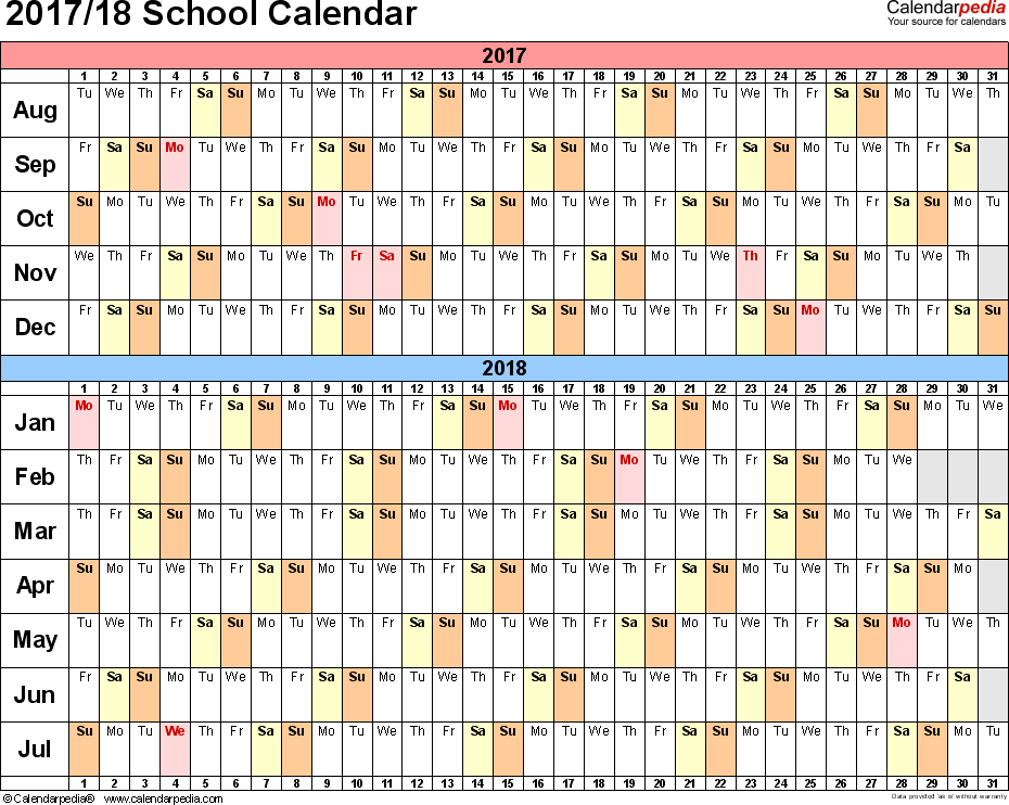 Template 2: School calendar 2017/18 for PDF, landscape orientation, days horizontally (linear), 1 page