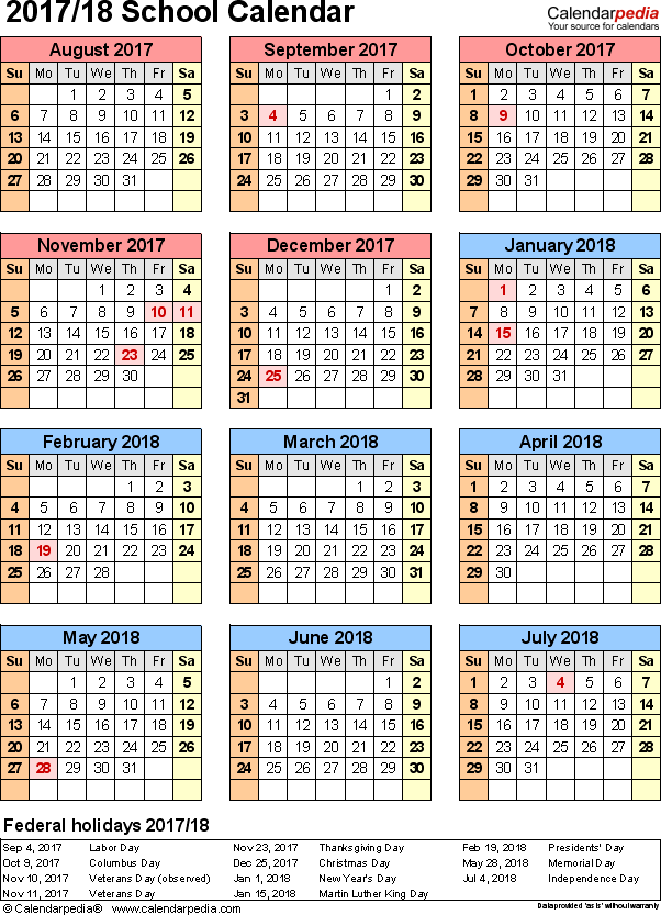 template 7 school calendar 201718 for excel portrait orientation year at