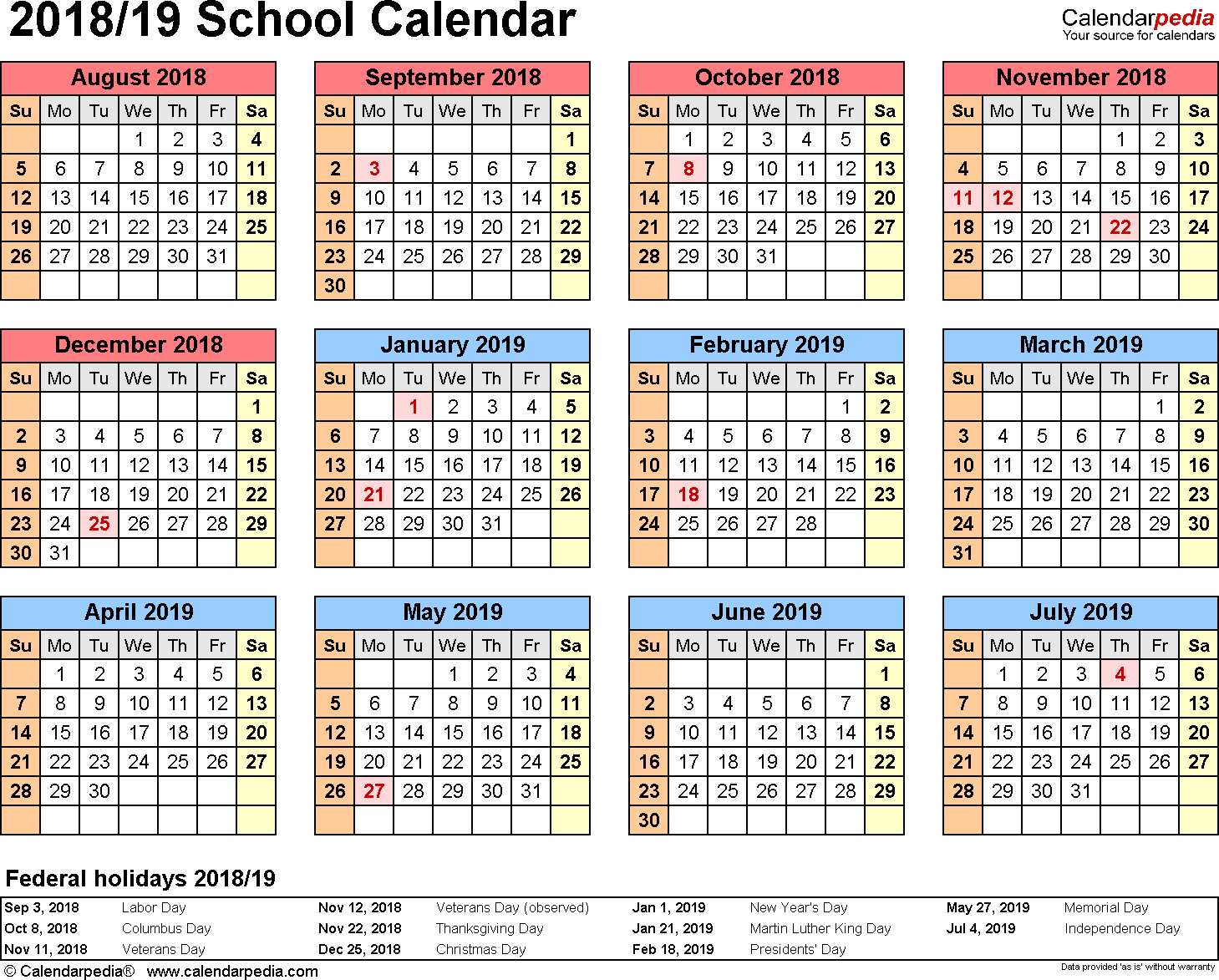 Template 4: School calendar 2018/19 for Excel, landscape orientation, year at a glance, 1 page
