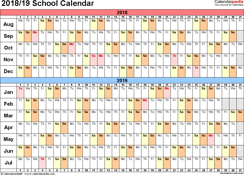 Template 3: School calendar 2018/19 for PDF, landscape orientation, days horizontally (linear), 1 page