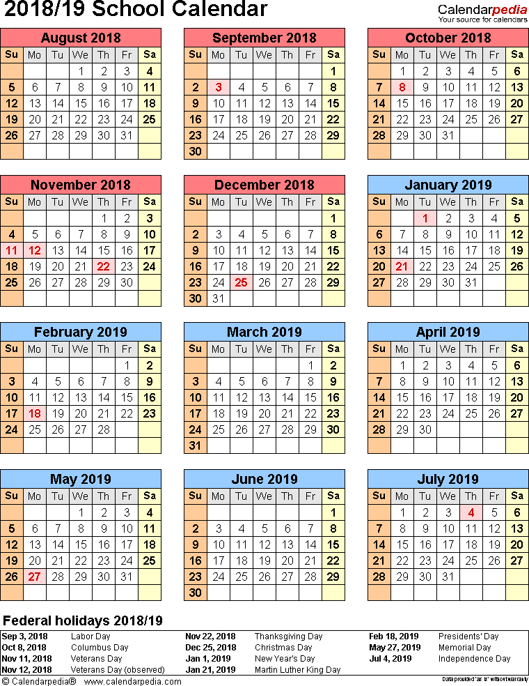Template 7: School calendar 2018/19 for PDF, portrait orientation, year at a glance, 1 page