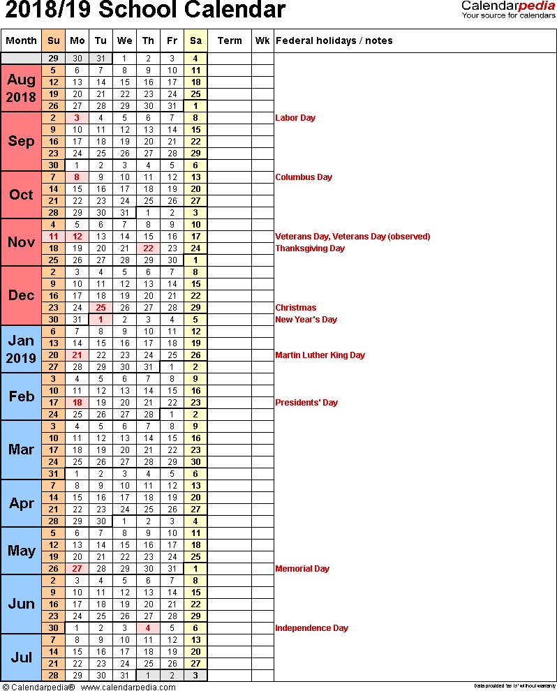 Template 8: School year calendar 2018/19 as Excel template, portrait orientation, 1 page, days in continuous (rolling) layout