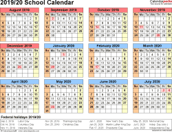 Template 4: School calendar 2019/20 for Word, landscape orientation, year at a glance, 1 page