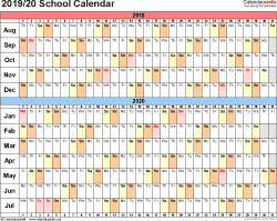 Template 2: School calendar 2019/20 for Word, landscape orientation, days horizontally (linear), 1 page