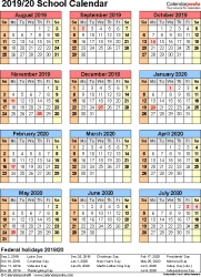 Template 7: School calendar 2019/20 for Word, portrait orientation, year at a glance, 1 page