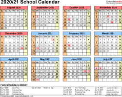 Template 4: School calendar 2020/21 for Excel, landscape orientation, year at a glance, 1 page