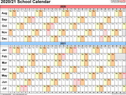 Template 2: School calendar 2020/21 for Excel, landscape orientation, days horizontally (linear), 1 page